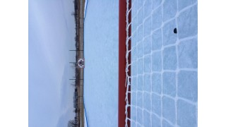 Behind the goal, my outdoor rink