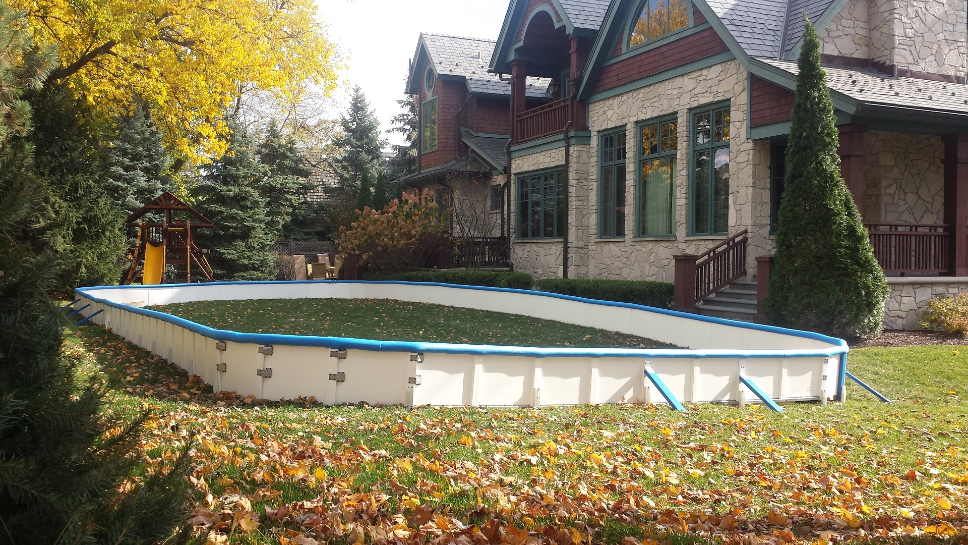backyard rink kits with deluxe poly steel hockey boards