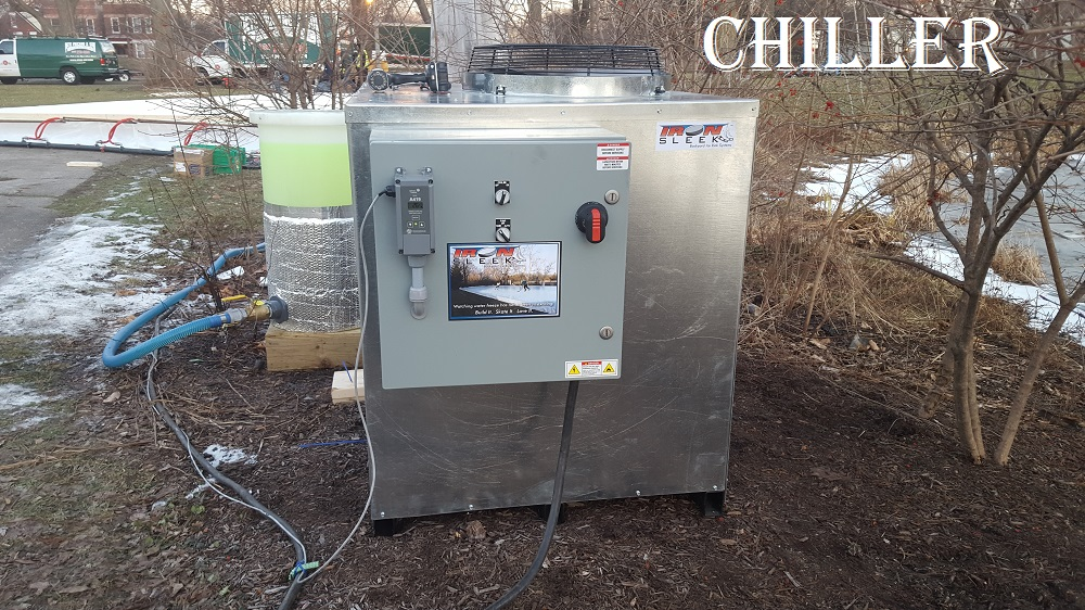 Residential refrigerated ice rink chiller.
