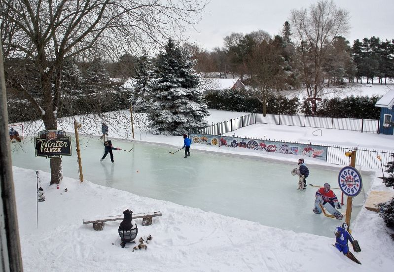 Beautiful backyard ice rink