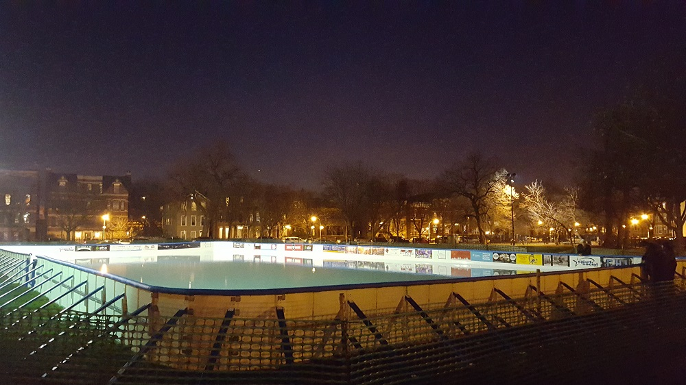 Park District Ice Rink With Plastic Boards.