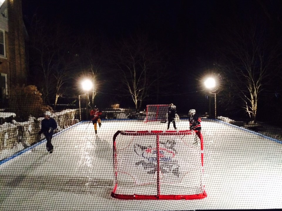 ice rink on pool after
